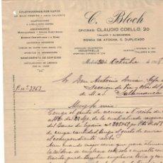 Cartas comerciales: CARTA COMERCIAL C. BLOCH MADRID AÑO 1918. Lote 131116888