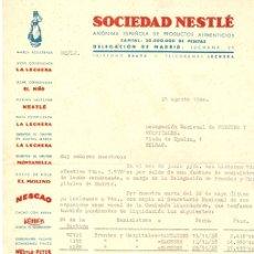 Cartas comerciales: CARTA COMERCIAL SOCIEDAD NESTLE. DELEGACION DE MADRID. 26 DE AGOSTO DE 1940. Lote 131782821