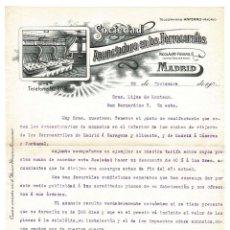 Cartas comerciales: MADRID 1907 CARTA DE LA SOCIEDAD ANUNENADORA DE LOS FERROCARRILES.. Lote 132118358