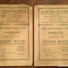 Cartas comerciales: ANTIGUOS DOS FOLLETOS LA VICTORIA DE BERLIN SOCIEDAD ANONIMA DE SEGUROS GENERALES AÑO 1918. Lote 132168586