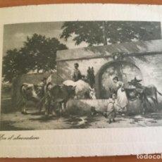 Cartas comerciales: PRECIOSO GRABADO, EN EL ABREVADERO. EL BANCO DE BILBAO LES DESEA FELICES PASCUAS Y PROSPERO AÑO NUEV. Lote 132411142
