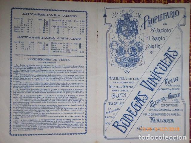 CARTA CATALOGO DE PRECIOS DE BODEGAS DE LICORES, MALAGA (Coleccionismo - Documentos - Cartas Comerciales)
