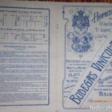Cartas comerciales: CARTA CATALOGO DE PRECIOS DE BODEGAS DE LICORES, MALAGA . Lote 133244878