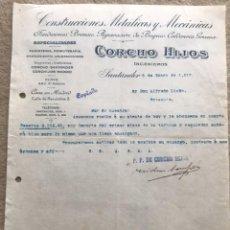 Cartas comerciales: CORCHO HIJOS - CONSTRUCCIONES METÁLICAS Y MECÁNICAS - SANTANDER - CARTA COMERCIAL AÑO 1917. Lote 133778746