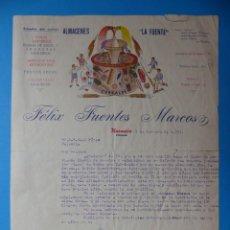 Cartas comerciales: PLASENCIA, CACERES - ALMACENES LA FUENTE, VINO, CARAMELOS, JUGUETES, CEREALES - AÑO 1951. Lote 134313826