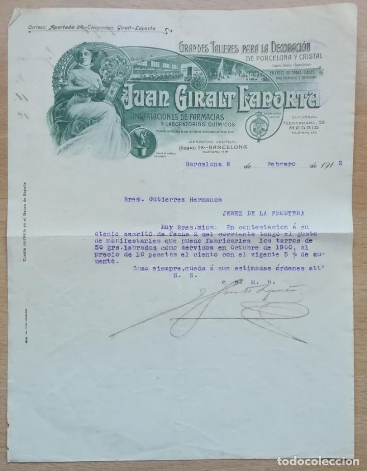 JUAN GIRALT LAPORTA, BARCELONA, 1912 (Coleccionismo - Documentos - Cartas Comerciales)