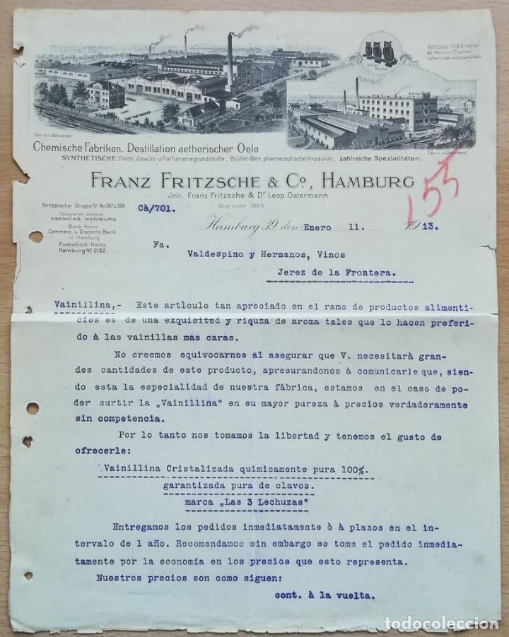 FRANZ FRITZSCHE & CO. HAMBURGO, 1913, CON GRABADO DE FÁBRICA (Coleccionismo - Documentos - Cartas Comerciales)