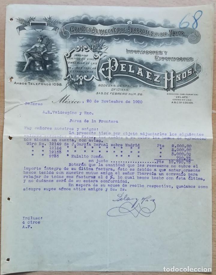 PELAEZ HNOS. MÉXICO, 1920 (Coleccionismo - Documentos - Cartas Comerciales)
