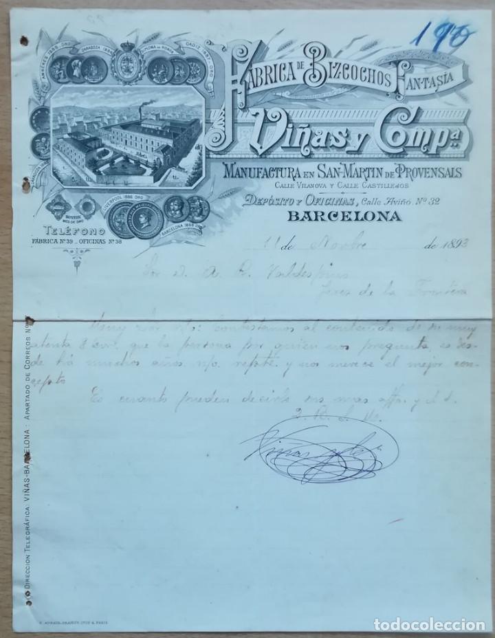 VIÑAS Y COMPA. BARCELONA, 1893 (Coleccionismo - Documentos - Cartas Comerciales)