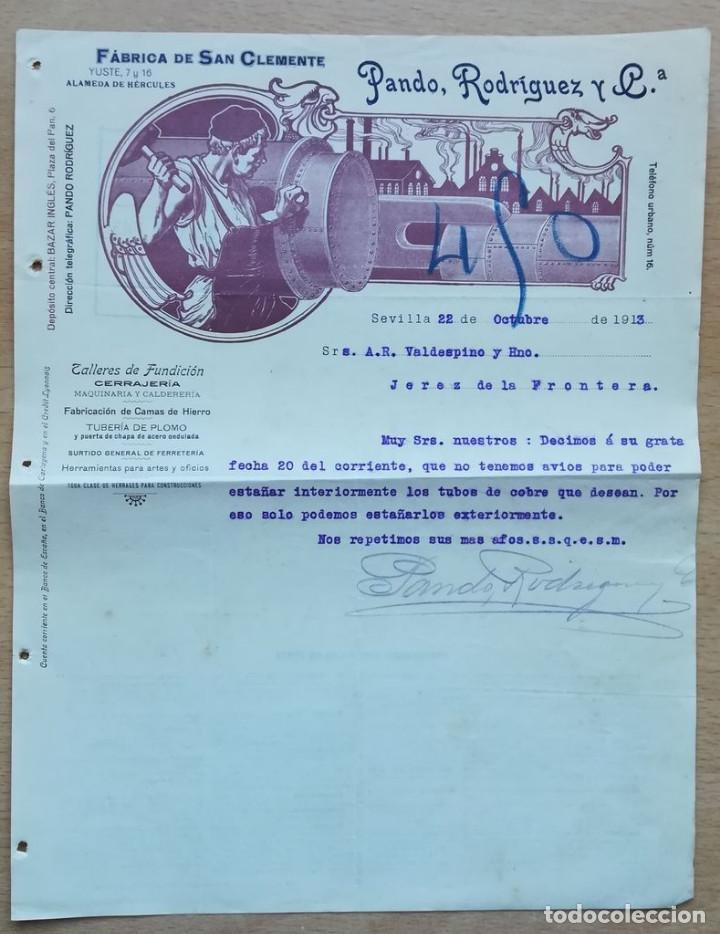 PANDO, RODRÍGUEZ Y CA., SEVILLA, 1913 (Coleccionismo - Documentos - Cartas Comerciales)