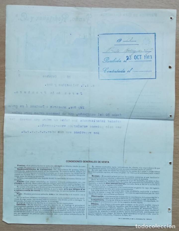 Cartas comerciales: PANDO, RODRÍGUEZ Y CA., SEVILLA, 1913 - Foto 2 - 134369946