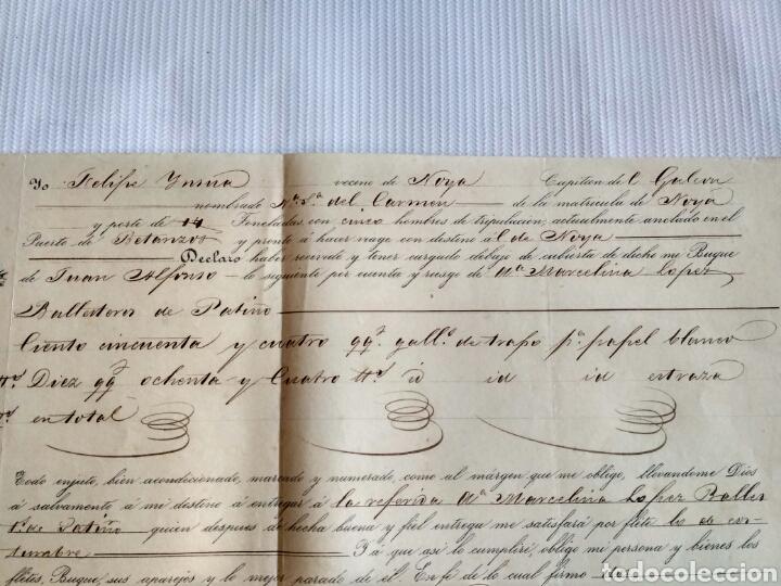 Cartas comerciales: Hoja de embarque de Betanzos a Noia, año 1856. Galicia, La Coruña. - Foto 2 - 134546115