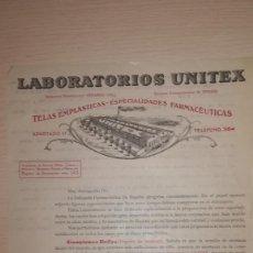 Cartas comerciales: ANTIGUA CARTA COMERCIAL LABORATORIOS UNITEX, VALENCIA, AÑOS 20-30. Lote 134885450