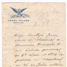 Cartas comerciales: HOTEL FALCON BARCELONA CARTA PUBLICIDAD PRINCIPIOS SIGLO XX. Lote 135707535