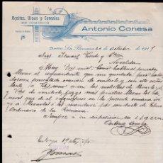 Cartas comerciales: ACEITES, VINOS Y CEREALES. ANTONIO CONESA. LA ROMANA. ALICANTE, 1917.. Lote 135723891