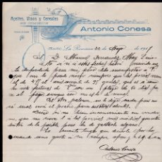 Cartas comerciales: ACEITES, VINOS Y CEREALES. ANTONIO CONESA. LA ROMANA. ALICANTE, MAYO 1917.. Lote 135723955