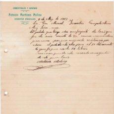 Cartas comerciales: COMESTIBLES Y HARINAS. ANTONIO MARTÍNEZ MOLINA. HONDÓN DE LOS FRAILES. ALICANTE, 1917.. Lote 135724575