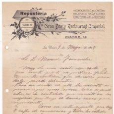 Cartas comerciales: GRAN BAR Y RESTAURANT IMPERIAL. REPOSTERÍA. LA UNIÓN. MURCIA, 1917. Lote 135725755