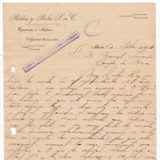 Cartas comerciales: ROLDÁN Y RUBIO. EXPORTACIÓN AZAFRÁN. ALBACETE, 1914. Lote 135725983
