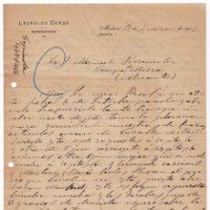 Cartas comerciales: REPRESENTANTE. LEOPOLDO CERDÁ. MADRID, 1917.. Lote 135726075
