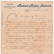 Cartas comerciales: COMISIONES. MANUEL MUÑOZ ALARCÓN. CHURRA. MURCIA, 1918. Lote 135728475