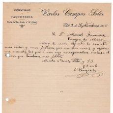 Cartas comerciales: COMESTIBLES. PAQUETERÍA. CARLOS CAMPOS SOLER. ELCHE. ALICANTE, 3 SEPTIEMBRE 1915. Lote 135728787