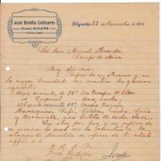 Cartas comerciales: JOSÉ BOTELLA CAÑIZARES. ALGUEÑA. PINOSO. ALICANTE, 1916. Lote 135729111