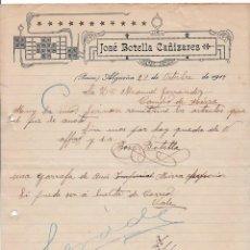Cartas comerciales: JOSÉ BOTELLA CAÑIZARES. ALGUEÑA. PINOSO. ALICANTE, 1917. Lote 135729183