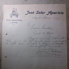 Cartas comerciales: ALCOY .VINOS AGUARDIENTES Y LICORES JOSÉ SOLER APARICIO 1915. Lote 136126050