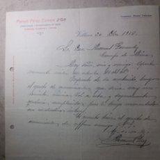 Cartas comerciales: VILLENA ALICANTE. 1916. Lote 136126690