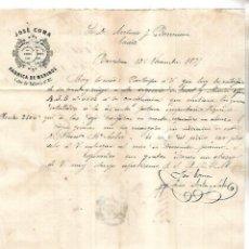 Cartas comerciales: CARTA COMERCIAL. JOSE COMA. FABRICA DE MERINOS. 1878. BARCELONA. VER DORSO. Lote 137280902