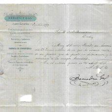 Cartas comerciales: CARTA COMERCIAL. BENEDICT GAL. ESPARTERIA, HIERRO. CARTAGENA. 1873. VER DORSO. Lote 137281126