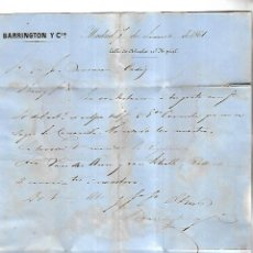 Cartas comerciales: CARTA COMERCIAL. BARRINGTON Y CIA. 1861. MADRID. VER DORSO. Lote 137282246