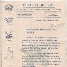 Cartas comerciais: P. G. TUMILET FÁBRICA DE JUGUETES MECÁNICOS. PATINETES. BARCELONA. 1935 FIRMA PROPIETARIO. Lote 138165462