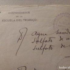 Cartas comerciales: DISPENSARIO DE LA ESCUELA DE TRABAJO.FARMACIA Y LABORATORIOS N.GELART.BARCELONA.1930.. Lote 138979390