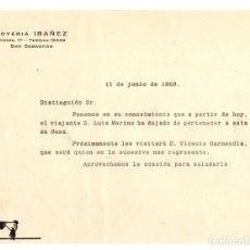 Cartas comerciais: CARTA COMERCIAL JOYERIA IBAÑEZ. SAN SEBASTIAN. AÑO 1956.. Lote 139266517