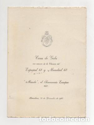 CARTA MENU. CENA DE GALA ELECCION DEL ESPAÑO Y MUNDIAL 1968. SEMANARIO EL MUNDO CARTAMENU-100 (Coleccionismo - Documentos - Cartas Comerciales)