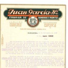 Cartas comerciales: FACTURA DE ZARAGOZA DE JUAN GARCIA Y HERMANOS DEL AÑO 1922 FABRICA DE GENEROS DE PUNTO. Lote 140507718