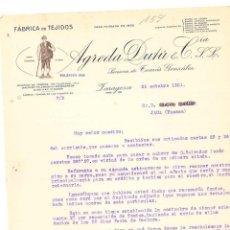 Cartas comerciales: FACTURA ANTIGUA DEL AÑO 1931 DE ZARAGOZA FABRICA DE TEJIDOS DE AGREDA DUTU CON TROQUELADO LAS LESTRA. Lote 140508170
