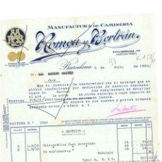 Cartas comerciales: FACTURA ANTIGUA DEL AÑO 1936 FABRICA DE CAMISETAS BARCELONA CON MEDALLA DE ORO DE LA EXPOSICION DEL . Lote 140508726