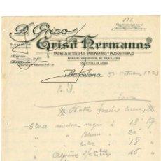 Cartas comerciales: FACTURA ANTIGUA DEL AÑO 1923 BARCELONA FABRICA DE TEJIDOS Y MOSQUITERAS Y TARLATANAS. Lote 140509038