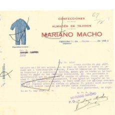Cartas comerciales: FACTURA ANTIGUA DE DE CONFECCIONES DE MARIANO MACHO DE VERGARA GUIPUZCOA DE 1935. Lote 140509410