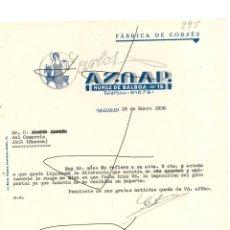 Cartas comerciales: FACTURA ANTIGUA DE MADRID DEL AÑO 1936 FABRICA DE CORSES. Lote 140509622