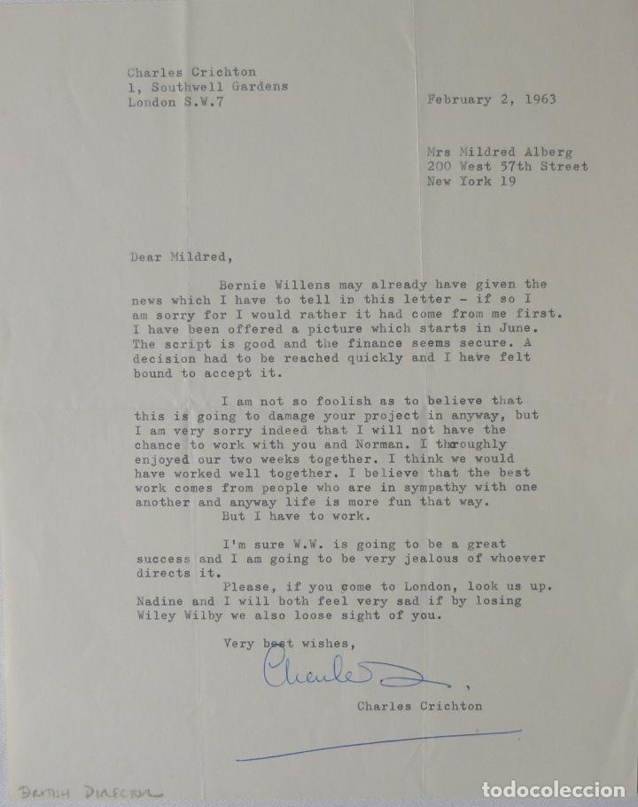CHARLES CRICHTON SIGNED LETTER ,1963 (Coleccionismo - Documentos - Cartas Comerciales)