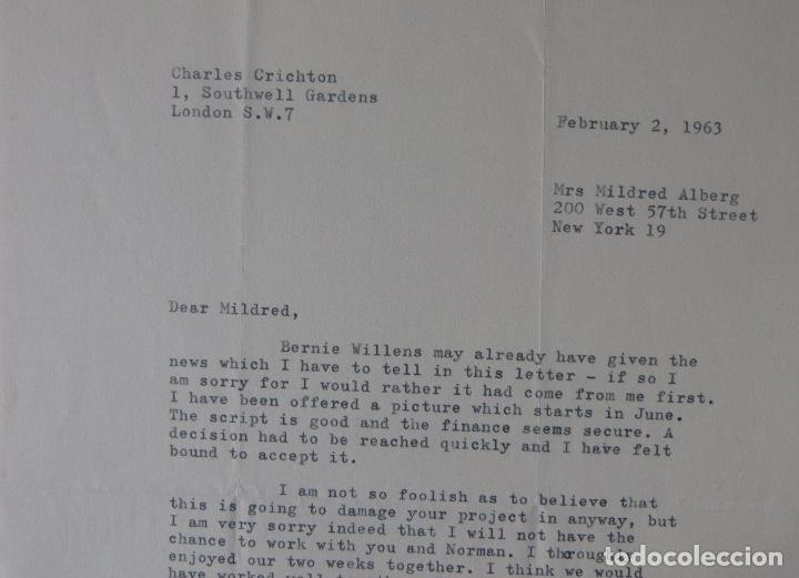 Cartas comerciales: Charles Crichton signed letter ,1963 - Foto 2 - 141140254