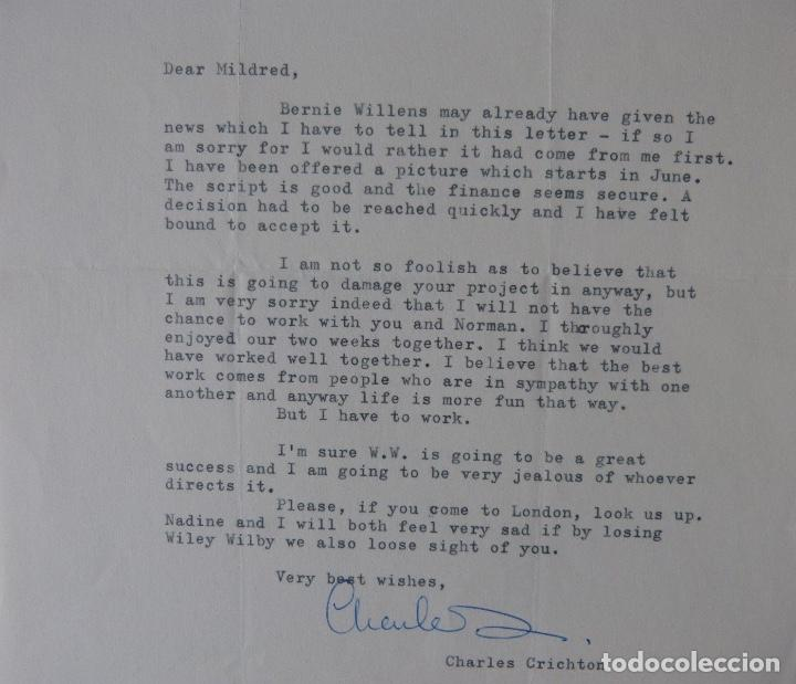 Cartas comerciales: Charles Crichton signed letter ,1963 - Foto 5 - 141140254