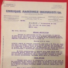 Cartas comerciales: CARTA COMERCIAL ENRIQUE MARTINEZ INCHAUSTI 1940. Lote 142032878