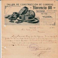 Cartas comerciales: CARTA COMERCIAL DECONSTRUCCION DE CORREAS DE FLORENCIO YLL -BARCELONA - 1917. Lote 142446554