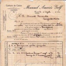 Cartas comerciales: CARBURO DE CALCIO. MANUEL AMORÓS. CAUDETE. ALBACETE. 1920.. Lote 143038614
