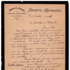 Cartas comerciales: FÁBRICA ALCOHOLES. VINOS PARA EXPORTACIÓN. NAVARRO HERMANOS. CAUDETE. ALBACETE. 1904.. Lote 143038930